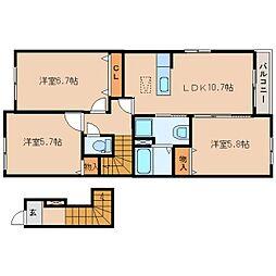 静岡県静岡市清水区村松の賃貸アパートの間取り