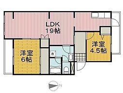 コーポレート川崎京町(広々2LDK、日当たり良好)[502(最上階、南向き)号室]の間取り