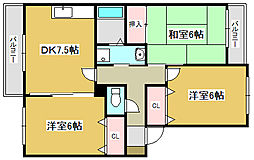 兵庫県加古川市加古川町溝之口の賃貸アパートの間取り