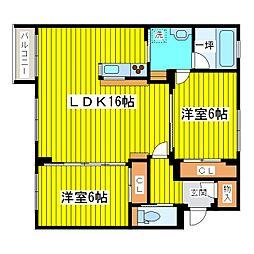 北海道札幌市東区北十四条東15丁目の賃貸マンションの間取り