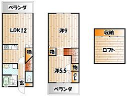 福岡県北九州市小倉南区南若園町の賃貸アパートの間取り