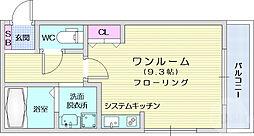 仙台市地下鉄東西線 連坊駅 徒歩6分の賃貸マンション 1階ワンルームの間取り