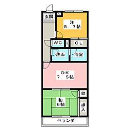 ホリホックイン和田[4階]の間取り