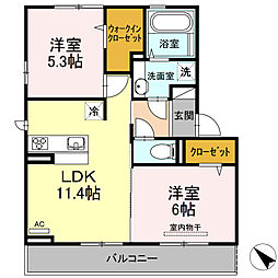 D-room可部3丁目A棟[203号室]の間取り