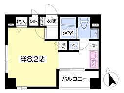 エターナル新富 5階ワンルームの間取り