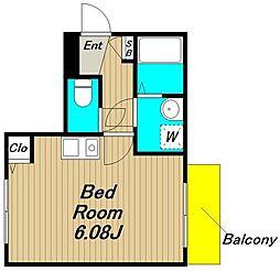仮称)浜田山新築計画 1階ワンルームの間取り