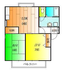 エクセルコーポ綾南A棟[2階]の間取り