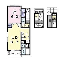 JR山陽本線 岡山駅 バス14分 豊成下車 徒歩6分の賃貸アパート 3階1LDKの間取り