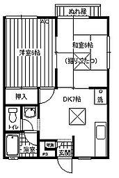 神奈川県横須賀市上町3丁目の賃貸アパートの間取り