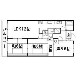 静岡県浜松市南区西伝寺町の賃貸マンションの間取り