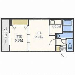 パワービル円山[4階]の間取り