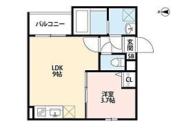 近鉄南大阪線 針中野駅 徒歩11分の賃貸アパート 3階1LDKの間取り