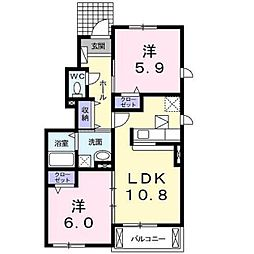 サニーコートII[1階]の間取り