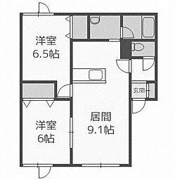 北海道札幌市手稲区富丘二条6丁目の賃貸アパートの間取り