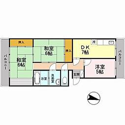 福岡県北九州市小倉南区中曽根3丁目の賃貸アパートの間取り