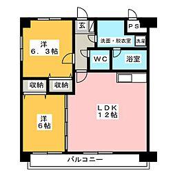 クイーンシティ吉川II[4階]の間取り