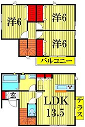 [一戸建] 埼玉県越谷市大林 の賃貸【/】の間取り