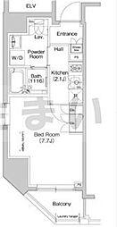 東京メトロ日比谷線 小伝馬町駅 徒歩5分の賃貸マンション 4階1Kの間取り