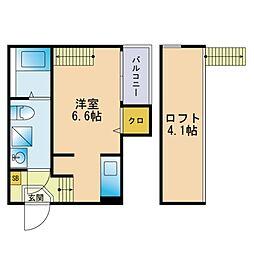 ハーモニーテラス箱崎宮前西 2階ワンルームの間取り