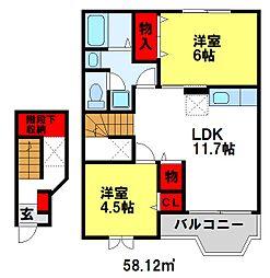 メゾンドアヴェニューE[2階]の間取り
