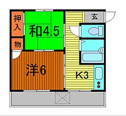 錦町マンション[3-D号室]の間取り