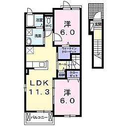カルモII 2階2LDKの間取り