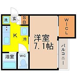 AZEST-RENT桜本町II 2階1Kの間取り