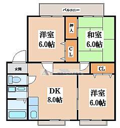 サンビレッジ東大阪[1階]の間取り