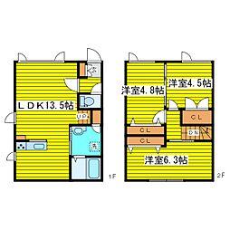 [テラスハウス] 北海道札幌市東区北二十四条東14丁目 の賃貸【/】の間取り