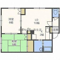 北海道札幌市北区新琴似九条8の賃貸アパートの間取り