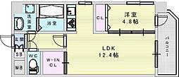 (仮称)プロスパー南吹田 6階1LDKの間取り