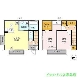 [テラスハウス] 徳島県徳島市春日2丁目 の賃貸【/】の間取り