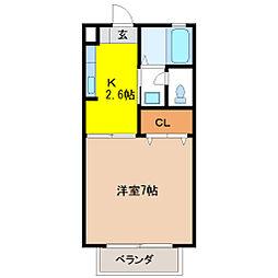 栃木県宇都宮市昭和2丁目の賃貸アパートの間取り