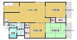福井マンション 3階3DKの間取り