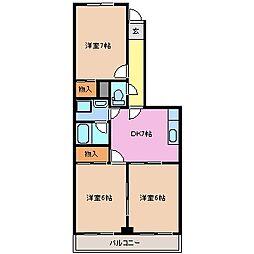 三重県鈴鹿市中旭が丘3丁目の賃貸マンションの間取り