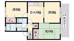 山陽電鉄本線 伊保駅 徒歩9分の賃貸アパート 1階3DKの間取り