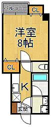 (仮称)ラウレア2 5階1Kの間取り