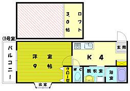 福岡県福岡市東区和白3丁目の賃貸アパートの間取り