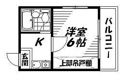 京阪本線 滝井駅 徒歩2分の賃貸マンション 3階1Kの間取り