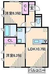 神奈川県横浜市鶴見区駒岡4丁目の賃貸アパートの間取り
