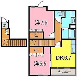 岡崎市 ピュアハウスII[203号室]の間取り