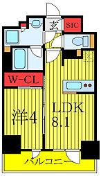 プレミスト板橋 14階1LDKの間取り