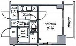 エスリード大阪ドームCERCA 11階1Kの間取り