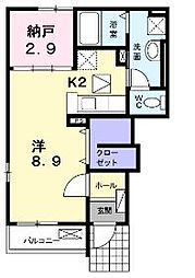 香川県丸亀市土器町北2丁目の賃貸アパートの間取り