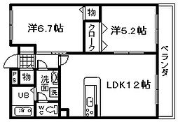 JR阪和線 熊取駅 徒歩33分の賃貸マンション 6階2LDKの間取り