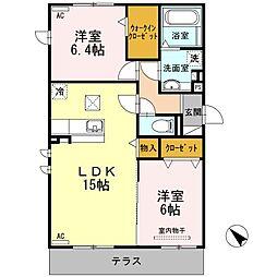 愛知県名古屋市天白区一本松2丁目の賃貸アパートの間取り