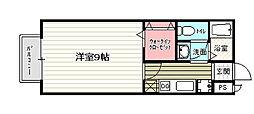 京都府京都市山科区大塚北溝町の賃貸アパートの間取り