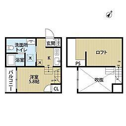 西鉄天神大牟田線 井尻駅 徒歩10分の賃貸アパート 1階ワンルームの間取り