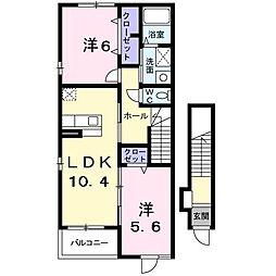 埼玉県東松山市大字大谷の賃貸アパートの間取り