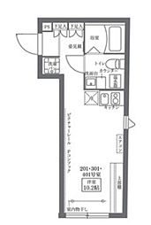 COCOCUBE KITA-SENJU 4階1Kの間取り